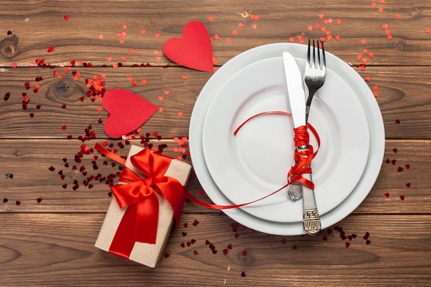Valentines day composition on wooden table