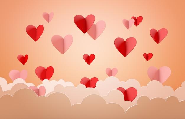 バレンタインデーのコンセプト、暖かい背景と雲と心