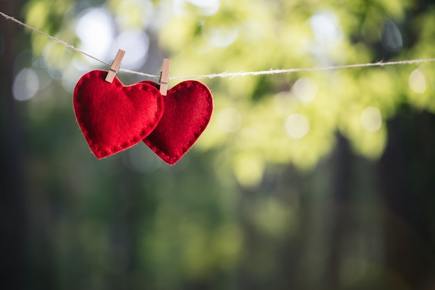 Концепция дня святого валентина. пара сердец, висящих на веревке для белья.