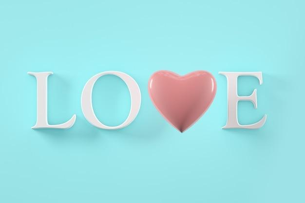 バレンタインデーのコンセプト、パステルカラーの心と言葉の愛