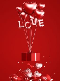 バレンタインデーのデザインの表彰台と製品のプレゼンテーションのための装飾的な赤い背景3dレンダリング