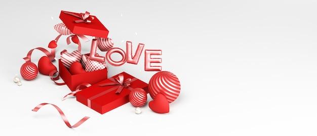 バレンタインデーのデザインの表彰台と製品のプレゼンテーションのための装飾的な白い背景3dレンダリング