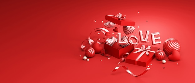 Valentines day design podium and red background decorative for product presentation 3d rendering