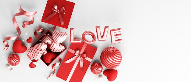 Valentines day design podium and white background decorative for banner greeting card 3d rendering