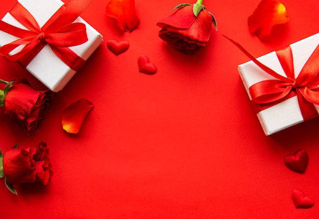 Valentines day elements on red