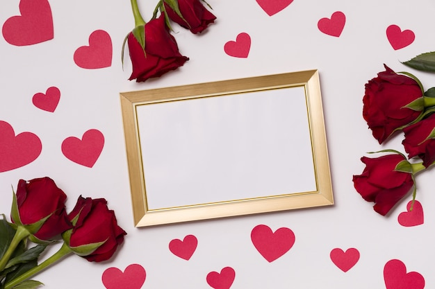 Valentines day, empty frame, seamless white background, kisses, hearts, message