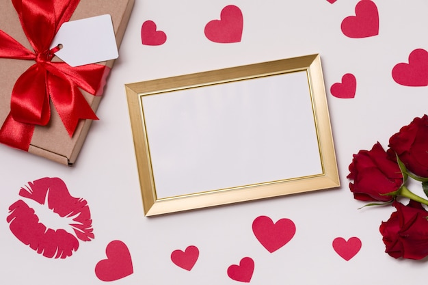 Valentines day, empty frame, seamless white background, red roses, hearts, message