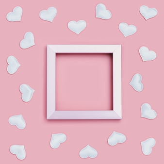 분홍색 주위에 하얀 마음으로 발렌타인 프레임. 인사말 카드 또는 웨딩 카드 초대장.