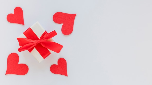 Valentines day gift box with bow and copy space