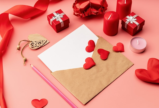 Valentines day. greeting card mock up template for valentines day on pink with decorations