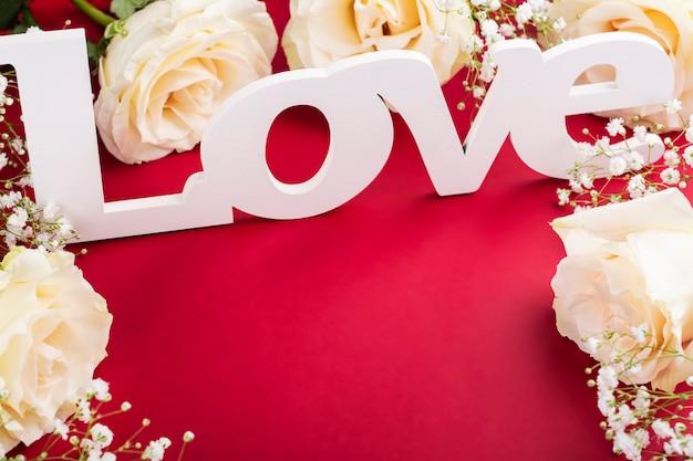 赤のバレンタインの日グリーティングカード
