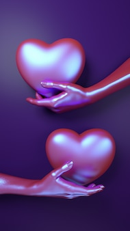 Valentines day hand holding heart background. holographic neon color flat lay.
