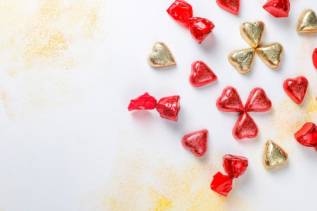 Valentines day heart shaped chocolates, decors.