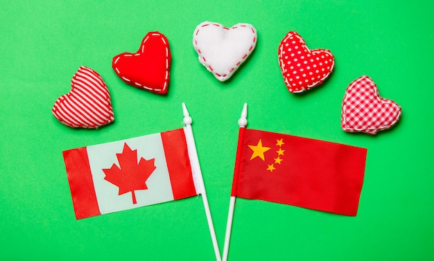 Valentines day heart shapes and flags of canda and china