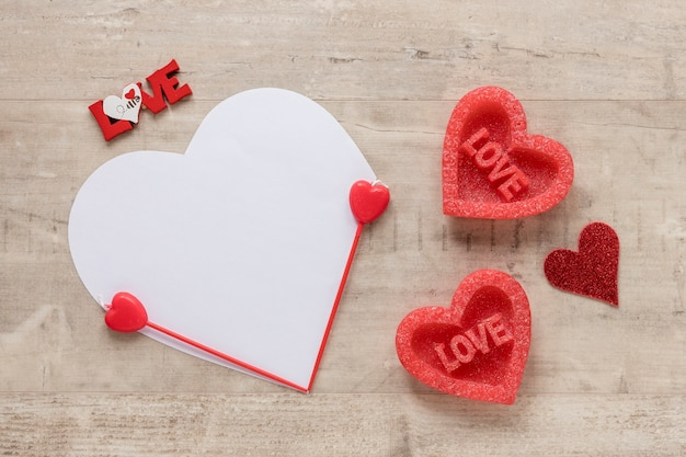 Valentines day heart on wooden background