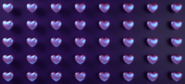 Valentines day hearts background pattern. purple neon holographic flat lay.