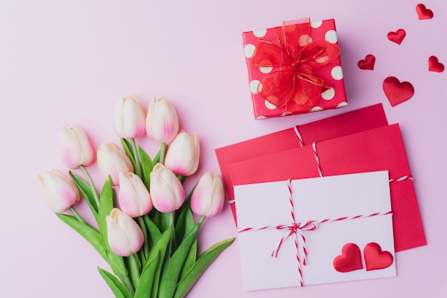 Valentines day and love concept on pink background.