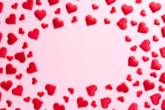 Valentines day and love concept. red hearts background.