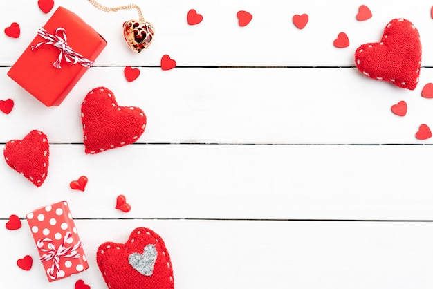 Valentines day and love concept on wooden background.