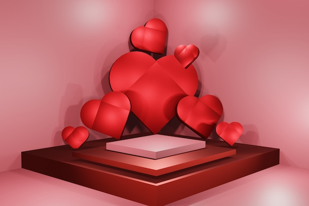 3d 마음, 빈 연단과 심장 발렌타인 핑크 배경