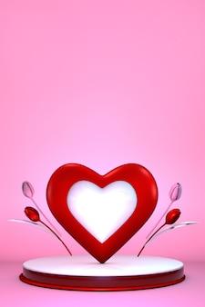Подиум дня святого валентина с романтичным сердцем и цветами тюльпанов. форма цилиндра для демонстрации продукта. 3d иллюстрации.