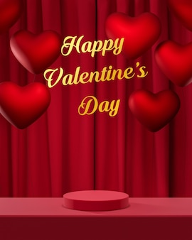 Красный подиум на день святого валентина на красном фоне 3d-рендеринга