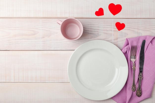 Valentines day romantic table setting