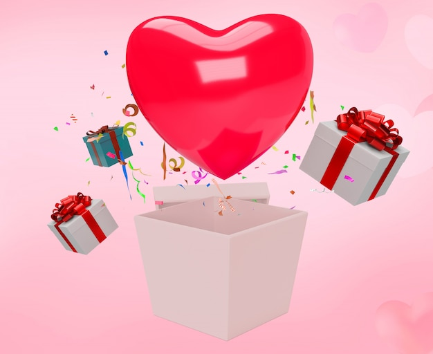 Valentines day sale with red heart and present box and pink hearts