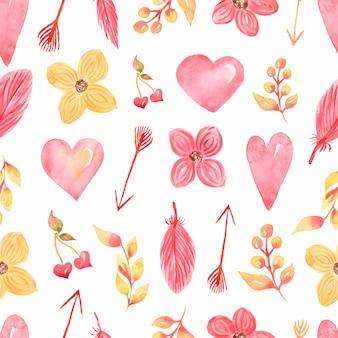 발렌타인 데이 완벽 한 패턴, 수채화 귀여운 꽃, 마음, 화살표 종이, 인쇄 디자인, 스크랩북 종이