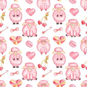 발렌타인 데이 원활한 패턴, 수채화 귀여운 양 동물, 마카롱, 하트, 화살표 종이, 인쇄 디자인, 스크랩북 종이, 어린이 종이, 사랑 인쇄