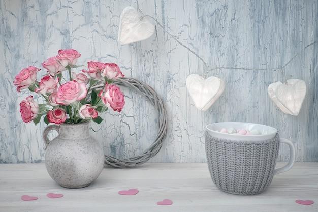 Valentines day or springtime still life