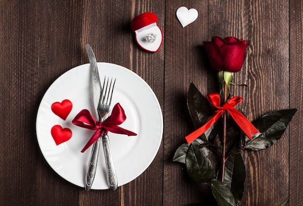 Valentines day table setting romantic dinner marry me wedding engagement ring