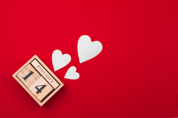 Valentines day theme with wooden block calendar