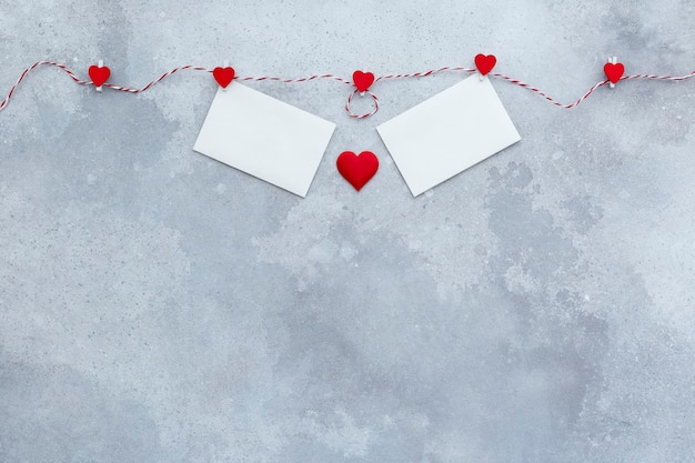 Valentines day, wedding invitation background, red hearts and two valentine's day cards