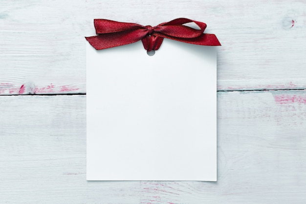 Valentines day or wedding mockup scene with blank card, empty space for your text, top view