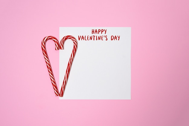 Valentines day or wedding mockup scene with blank card, paper hearts confetti, empty space for your text, top view.