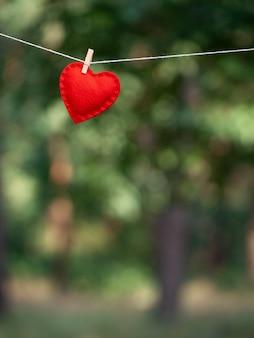 День святого валентина с красным сердцем и копией пространства. боке размывает зеленую растительность с местом для текста
