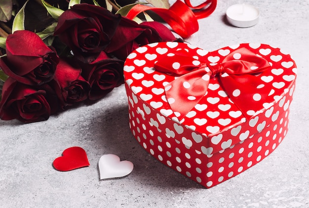 Valentines day womens mothers day red rose gift box heart shape surprise