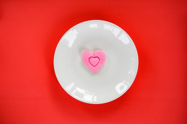 Valentines dinner romantic love food cooking pink heart on plate