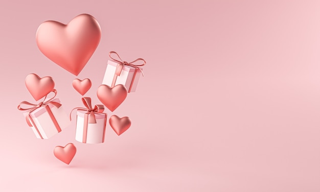 Valentines heart shape and gift box flying copy space 3d rendering