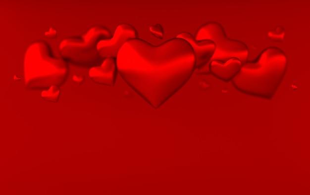 발렌타인 하트 배경 패턴 3d 렌더링 그림