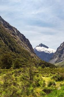뉴질랜드의 눈 덮인 산과 언덕 사이의 계곡
