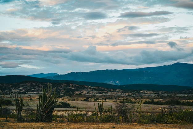 Valley under the cloudy sunset sky at the tatacoa desert, colombia