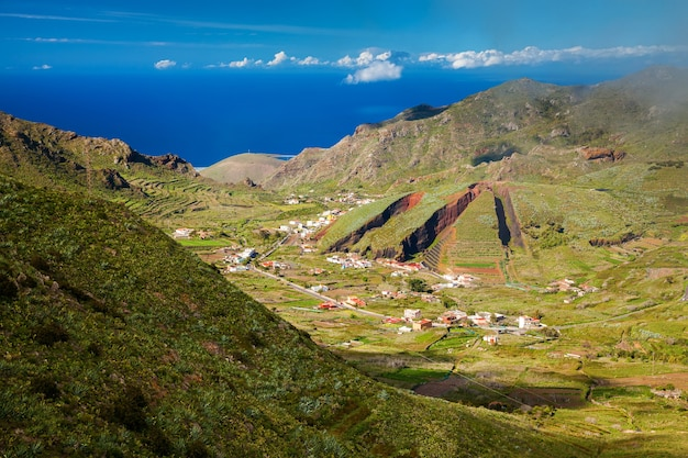 Valley of el palmar in the teno mountain range with the hill form of a sliced pie, tenerife, canary islands