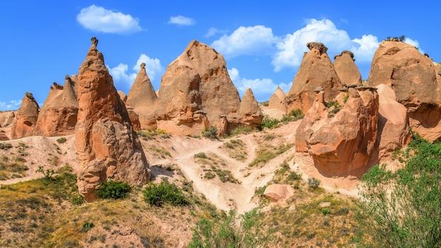 Valley full of unique rock formations in cappadocia, turkey