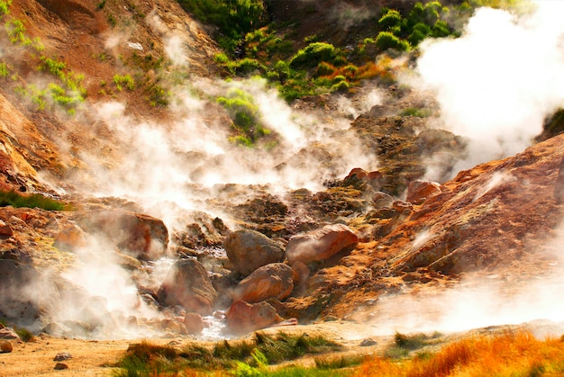 Valley of geysers in kronotsky nature reserve.