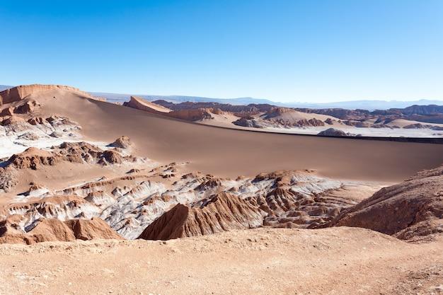 Долина лунного пейзажа, чили. чилийская панорама. валле-де-ла-луна