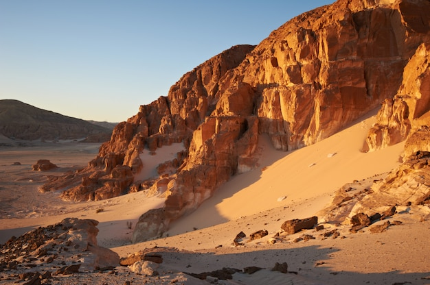 Valley in the sinai desert with mountains