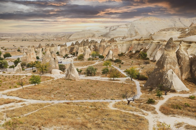 Valley with the sandy mountains of cappadocia. fantastic landscape.