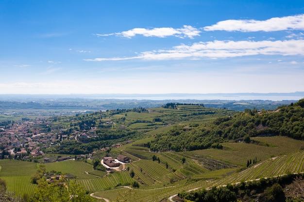 ガルダ湖を背景にしたヴァルポリチェッラの丘の風景。イタリアのブドウ栽培地域、イタリア。